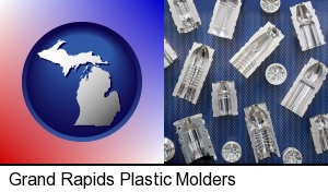 Grand Rapids, Michigan - several plastic molds, made from machined metal