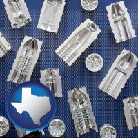texas several plastic molds, made from machined metal